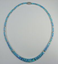 ".950 fine silver light blue opal necklace long curved centerpiece 16 1/2"" long"