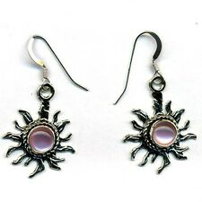 Handcrafted Sterling Silver Sun Earrings Pink Mother of Pearl Native American