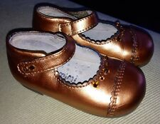 $115 Siaomimi Leather Metallic Bronze Swarovski Crystals Baby Girl Shoes 6