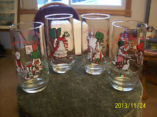 Christmas Holly Hobbie Vintage Coca Cola Limited Edision 1979 Set Of 4 Glasses