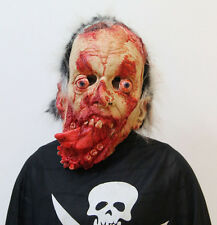 Halloween Scary Bloody Zombie Tongue Latex Mask,Adult Costume bloody Horror face