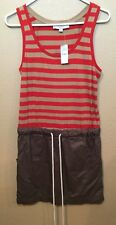 NEW Ann Taylor Loft Summer Beach Dress Sz Small Orange Brown Striped