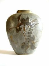 Ältere massive Messing Bronze Vase mit Email Ziselierungen