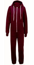 Womens Mens Unisex Plain Ladies All In One Jumpsuit Hooded Long Onesie S TO 5XL