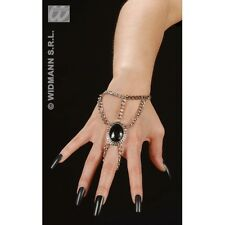 Gothic Wrist Chain with Black Gem Medallion Jewellery for Halloween Emo Goth Fan