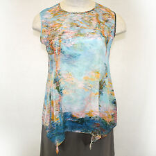 NEW NWT Cocoon House Monet Poplars 100% Silk Sleeveless Shell Blouse Large/XL