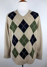 J CREW Black Green Argyle Sweater 100% Lambswool V-Neck Men's Sz XL