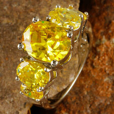 Delicate Fashion Jewelry Oval Cut Citrine Gemstone Silver Ring Size 6 Free Ship