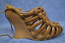 BOTTEGA VENETA SHOES SANDALS platform wedges brown patent leather 37 7