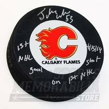 Johnny Gaudreau Calgary Flames Signed Autographed 1st Goal Shot Inscribed Puck