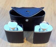 Twin / Two Metal Hip Flasks in Faux Leather Case with Belt Fastener. Drink.