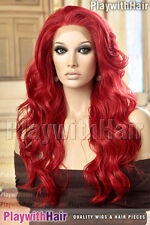 SO HOT Stunning Waved Lace Front Wig Heat Friendly Safe OK Bold Fire Mermaid Red