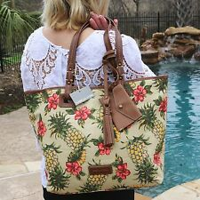 NWT Isabella Fiore XL Large Leather Floral Canvas Shoulder Tote Handbag Bag New!