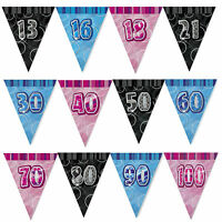 Glitz FLAG Banner - 12Ft Triangle Happy Birthday 13th-100th Party Decorations