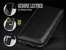 BLACK GENUINE LEATHER PHONE CASE W/ ROTATING BELT CLIP FOR APPLE IPHONE 6 PLUS