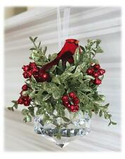 "Kissing Krystals Crystal CARDINAL Mistletoe Christmas Ornament, 7"" Tall, by Ganz"