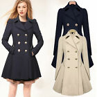 Womens Ladies Lapel Winter Long Parka Double Breasted Coat Trench Outwear Jacket