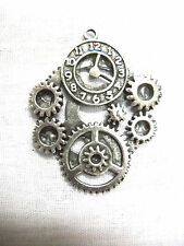 STEAMPUNK CLOCK GEARS SOLID CAST USA PEWTER PENDANT ON ADJUSTABLE CORD NECKLACE