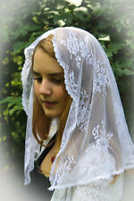 ~Evintage Veils~ White Chantilly  Lace Chapel Veil Mantilla  Latin Mass