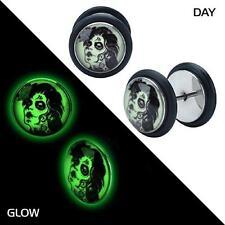Glow in the dark sugar skull Zombie earrings fake gauges plugs tapers PAIR w38