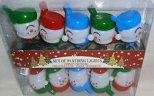 CHRISTMAS DECORATIVE  STRING LIGHT SET of 10 SNOWMEN  Connect End-To-End