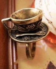 Alice in Wonderland bronze tea cup set ring