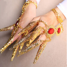 Red Gem Bracelet Hand Chain Ring Belly Dancer Jewelry Bangle