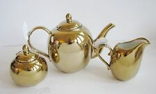 3 PC SET BELLA LUX METALLIC REFLECTIVE GOLD CERAMIC TEA,COFFEE POT+CREAM+SUGAR
