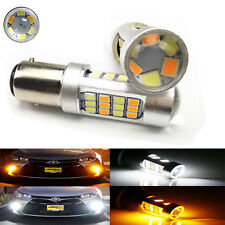 2X 1157 BAY15D 2835 42SMD LED Bulb Dual Color White/Amber Switchback Turn Signal