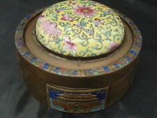 OLD 19TH CENTURY CHINESE FLORAL CLOISONNE ENAMEL PORCELAIN  JAR BOX