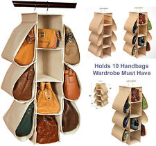 10 Pocket Wardrobe Closet HANGING HANDBAG ORGANISER Storage (Wardrobe Must Have)