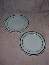 2 Anchor Hocking Fire King 350, Made in the U.S.A.Glass Plates with Green Stripe