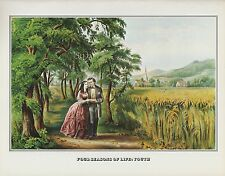 """1978 Vintage """"FOUR SEASONS OF LIFE - YOUTH"""" CURRIER & IVES COLOR Lithograph"""