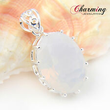 Top Beautiful Oval Cut Rainbow Moonstone Gemstone Silver Necklace Pendant 1 1/2""