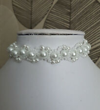 """White Pearl & seed Bead CHOKER necklace BRIDAL style glass 13"""""""