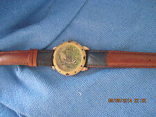 Vintage EXCELLENT MENS CARDIN Golf Player Face w/ Leather Watch ...#7039