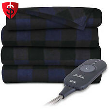 Electric Heated Blanket Fleece Throw Warming Heat Throws Warm Navy Plaid