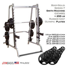 2016 NEW Series 7 - Body Solid Smith Machine GS348Q + 255 lb Rubber Olympic Set