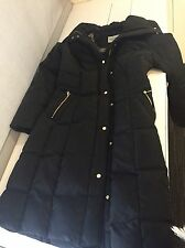 Cole Haan Signature Down Long Jacket Winter Coat Puffy Black Small Designer Calf