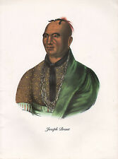 VINTAGE PRINT of 1830's NATIVE AMERICAN INDIAN ~ JOSEPH BRANT ~ IROQUOIS TRIBE
