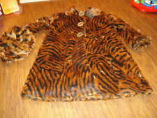 BOUTIQUE CORKY & COMPANY CO SZ 6 BROWN ANIMAL PRINT FAUX FUR COAT AND HAT GIRLS