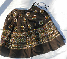 NWT Take Two Clothing Co. 100% Cotton Women's Brown & Gold Skirt Size L NEW