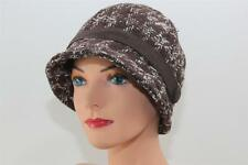 CHEMO HAT Brown Cloche Cancer Head Cover COTTON LINED Wool CANCER TURBAN
