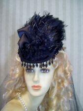 Steampunk Hat Victorian Mini Riding Hat BLack Civil War Hat 1800s style Hat Tea