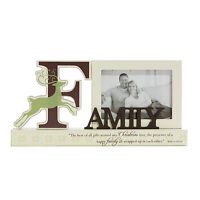 FAMILY  Christmas Reindeer Photo Picture Frame Mantel Shelf Sitter Decoration