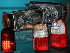 1996 1997 1998 TOYOTA 4RUNNER BLACK HEADLIGHTS + CORNER + LED TAIL LIGHTS RED