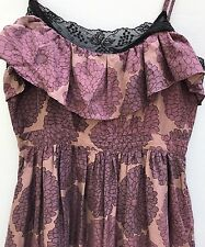 Anthropologie Dress 4 Lil Come What May Small Silk Purple Floral Empire Waist