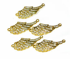 Angel Wings Crystal Rhinstone Gold Plated Connector Charms - Pack of 5
