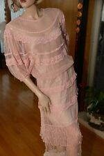 LIM'S INTRICCATE  COTTON HAND CROCHET DRESS ELASTIC NECK AND WAIST PINK ONE SIZE