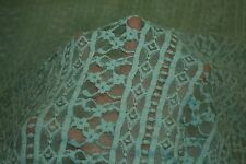 Turquoise Floral Stretch Lace #13 Nylon Lycra Spandex Apparel Fabric BTY
